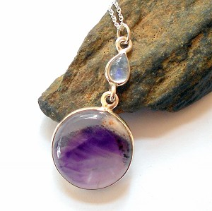 Auralite 23 and Moonstone Sterling Silver Necklace