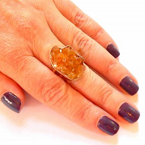 Raw Citrine Sterling Silver Ring Size 8.5