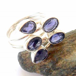 Iolite Sterling Silver Ring Size 10