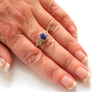 Lapis Sterling Silver Ring Size 6.5