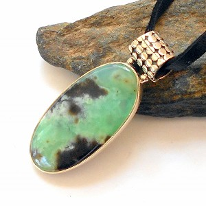 Chrysoprase Leather Necklace