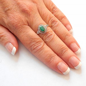 Emerald Sterling Silver Om Ring Size 8