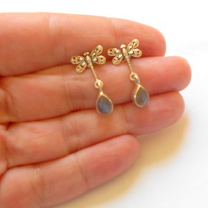 Lapis Sterling Silver Dragonfly Earrings