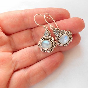 Moonstone Sterling Silver Dragonfly Earrings