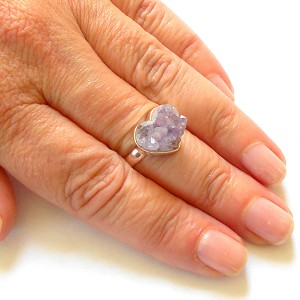 Amethyst Heart Sterling Silver Ring Size 8