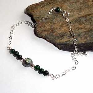 Emerald and Pearl Ankle Bracelet