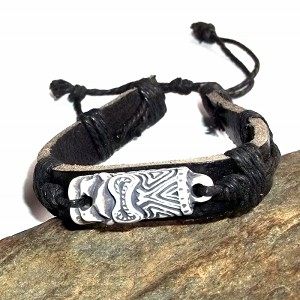 Tibetan Leather Bracelet Tiki Totem