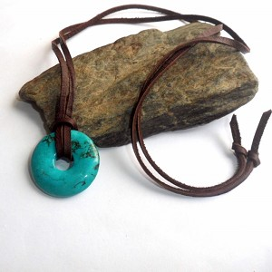 Blue Turquoise Donut Necklace
