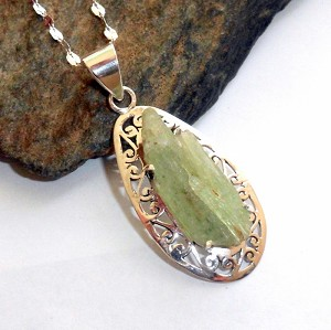 Green Kyanite Sterling Silver Necklace