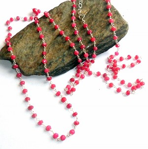Pink Ruby Rosary Three Way Necklace