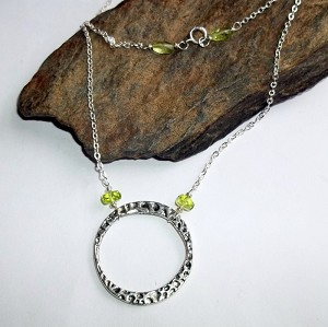 Green Peridot Circle Necklace