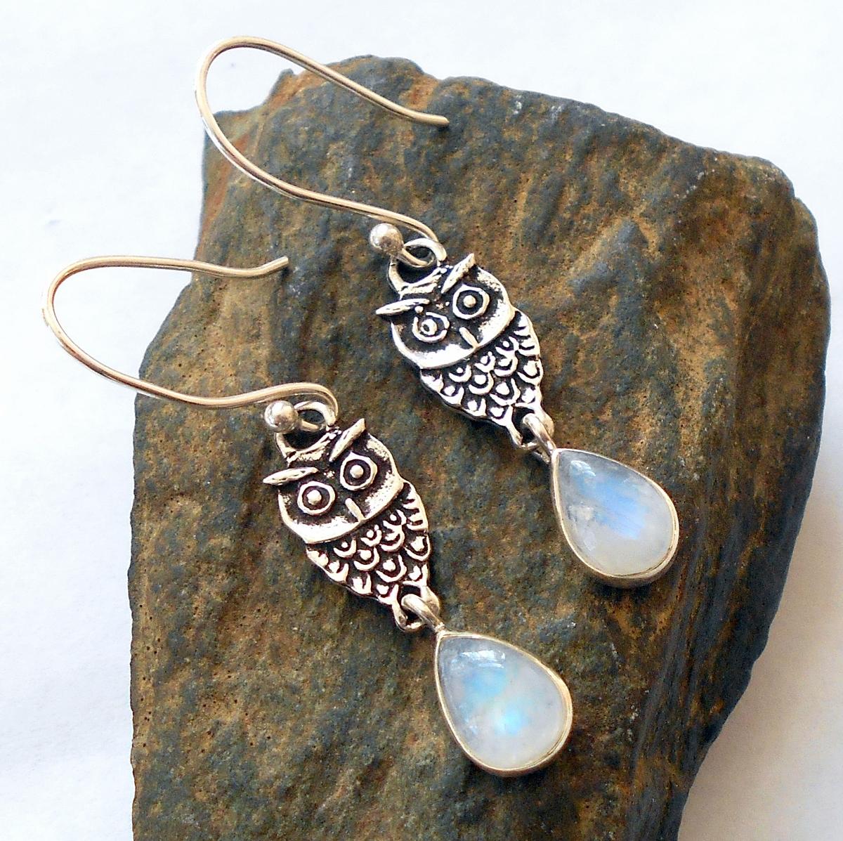 Moonstone Sterling Silver Owl Earrings