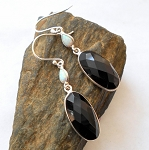 Black Onyx and Fire Opal Earrings