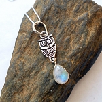 Moonstone Sterling Silver Owl Necklace