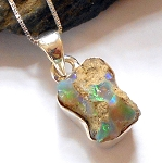 Raw Ethiopian Opal Sterling Silver Necklace