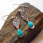 Fire Opal Sterling Silver Owl Earrings