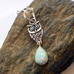 Fire Opal Sterling Silver Owl Necklace