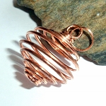 Copper Tumble Stone Wire Pendant Cage