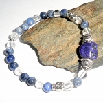 Sodalite and Clear Quartz Skull Bracelet