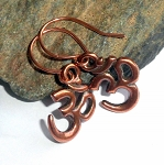 Copper Om Charm Earrings