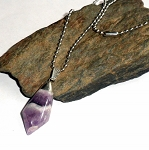 Chevron Amethyst Tumble Stone Necklace