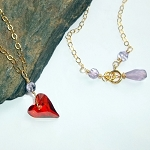 Swarovski Red Crystal Heart Gold Necklace