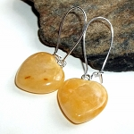 Yellow Aventurine Heart Earrings