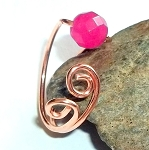 Pink Jade Gemstone Copper Ring