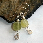 Roman Glass and Quartz Earrings
