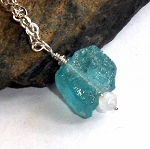 Blue Apatite Nugget Necklace
