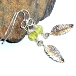 Peridot Rose Leaf Charm Earrings