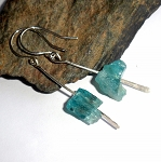 Raw Apatite Sterling Silver Earrings