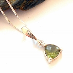 Faceted Moldavite Sterling Silver Necklace