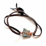 Chrysocolla Leather Wrap Bracelet