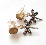 Citrine Sterling Silver Dragonfly Earrings