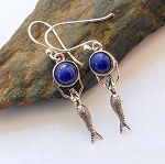Lapis Sterling Silver Mermaid Earrings