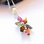 Multi Color Tourmaline Star Necklace