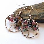 Multi Color Tourmaline Tree of Life Earrings