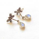 Blue Topaz Sterling Silver Dragonfly Earrings