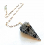 Tourmalinated Quartz Faceted Pendulum