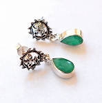 Emerald Sterling Silver Post Earrings