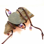 Pyrite and Amethyst Leather Wrap Bracelet