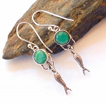 Emerald Sterling Silver Mermaid Earrings