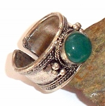 Tibetan Silver Green Jade Ring