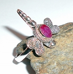 Ruby Sterling Silver Dragonfly Ring Size 8