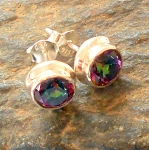 Rainbow Topaz Sterling Silver Post Earrings