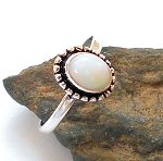 Welo Opal Sterling Silver Ring Size 7