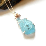 Raw Aquamarine Sterling Silver Necklace
