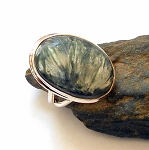 Seraphinite Sterling Silver Ring Size 8