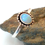 Welo Opal Sterling Silver Ring Size 9